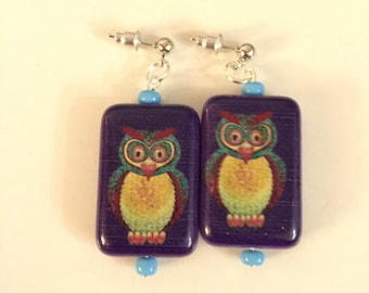 Handcrafted Owl Dangle Pierced Earrings