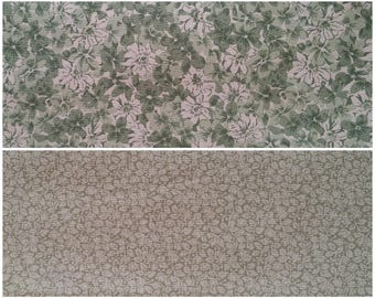 GN005 ~ Lot of 2 fabrics Green and white fabric Green flowers White flowers Green fabric Light green fabric Green leaves Quilting Quilt