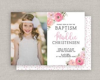 LDS Baptism Invitation - Maddie