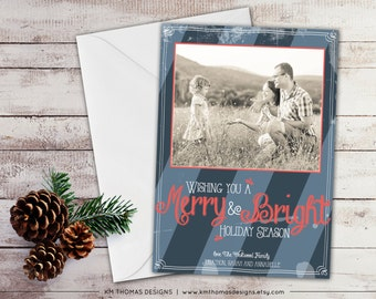 Printable Photo Holiday Card - Christmas Photo Card - Vintage Holiday Card - Chalkboard Font - Merry and Bright - Navy Holiday Card - WH106