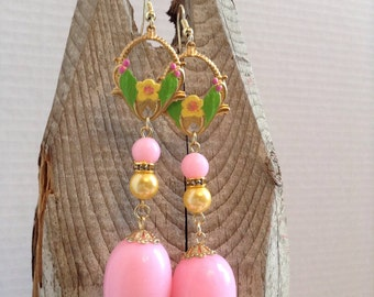 Pink and yellow floral earrings