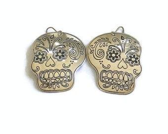 Sugar Skull Earrings Vintage Silver Tone Engraved
