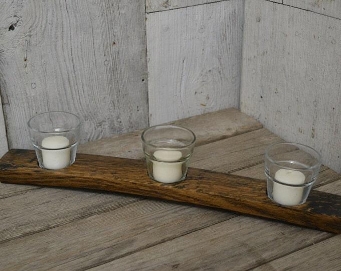 Votive Candle Holder, Wine Barrel Stave Decor Holds 3 Candles, Aged Oak, Dark Walnut Stain, Displays Three Illuminations