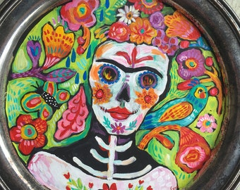 Day of the Dead Sugar Skull Mexican Folk Art Painting
