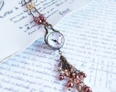Glass Orb Watch necklace - glass ball gears steampunk beaded tassel long timepiece