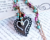 Heart Pendant beaded long necklace - wire wrapped pink turquoise cowgirl jewelry