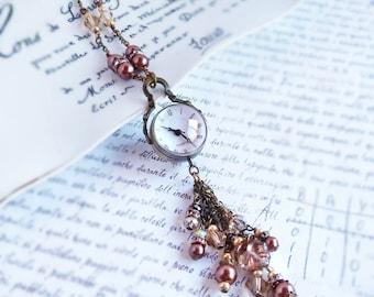 Glass Orb Watch necklace - glass ball gears steampunk beaded tassel long timepiece