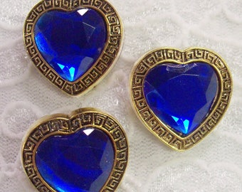 """3 Acrylic Buttons, Sapphire Jewel with Gold Setting 7/8"""" wide Lightweight"""
