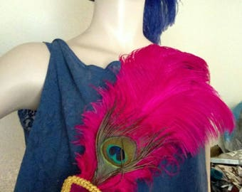 Ostrich Feather Vintage Inspired Fan, Hot Pink and Peacock, 18 inch, Phryne Fisher, Edwardian, Renaissance, Egyptian, Flapper