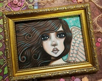 Original Mixed Media Angel Painting by Lisa Lectura