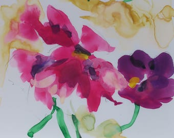 Posies - watercolor painting  South Carolina artist Linda Hunt - flowers - wild flowers - Yupo paper - Gouache - floral - small painting