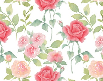 Rose Floral Wedding Fabric - Rose Garden By Mintpeony - Floral Red and PInk Roses Cotton Fabric By The Yard With Spoonflower