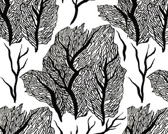 Black + White Ocean Coral Fabric - Coral By Ebixcalligraphy - Black + White Minimalist Coral Cotton Fabric By The Yard With Spoonflower