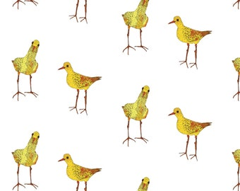 Two Yellow Birds Fabric - Two Yellow Birds By Lorose - Summer Bird Home Decor Cotton Fabric By The Yard With Spoonflower