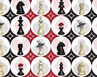 Chess Fabric - Pawn Games By Mag-O - Chess Piece Board Game Cotton Fabric By The Yard With Spoonflower