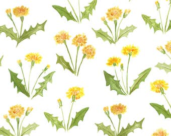 Summer Dandelion Fabric - Dandy By Jillbyers - Summer Yellow Watercolor Dandelion Home Decor Cotton Fabric By The Yard With Spoonflower