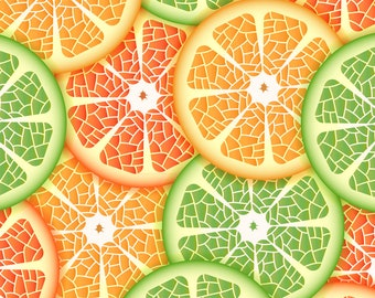 Summer Citrus Slices Fabric - Citrus By Juliabadeeva - Green Yellow Orange Lemon Lime Grapefruit Cotton Fabric By The Yard With Spoonflower