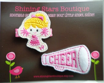 Hair Accessories - Felt Hair Clip - Embroidered Felt Cheerleader With Blonde Hair And Matching White And Pink Megaphone Clippie Set