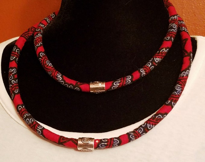 Featured listing image: African print ankara rope Necklace Ethnic Necklace, Triabal Neckalce, Bib Necklace Nubian Sensations