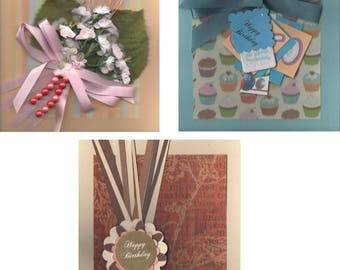 Handmade Birthday Cards - 3 Variations of Card - Free Shipping USA