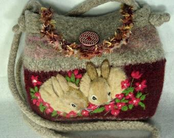 Felted Purse,felted handbag, bunny art, hand made felted purse,rabbit art, needle felt bunny