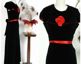 Vintage 1930s Dress - Black Cotton Velveteen Bias Cut Frock with Red Satin Contrast and Rosette
