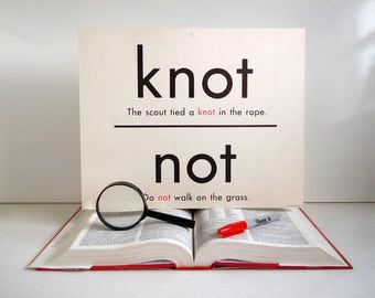 Vintage Giant Word Flashcard | Not Knot Night Knight Double Sided 11x14 Homonym Poster Flash Card