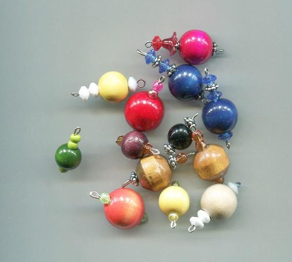 13 wood bead drops mixed lot bead charms wooden pendants big beads