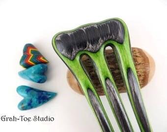 Green Hornet Wood Hair Fork, Mini Threnody,Wooden Hairfork,Hair Forks, Hairforks,Hair Stick,Hairsticks wood,Man Bun, wood fork, Gift for her