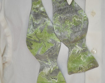 Self Tie Bow Tie with Pantone Greenery and Grey on Satin Fabric Made in Asheville, NC MM#17-8