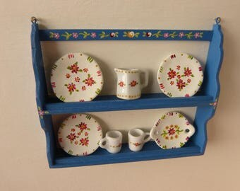 12th  scale miniature dollhouse  plate wall shelf /  plate stand hand painted in the Portuguese folk art style in blue background