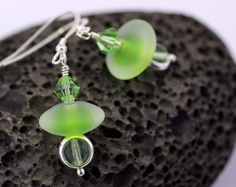 Lampwork Faux Seaglass and Sterling Silver Dangle Earrings  SRAJD SRA