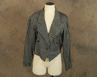 Clearance Sale vintage 80s Blazer -1980s Cropped Jacket Zoot Suit Striped Blazer Sz M