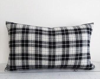 Black White Plaid Pillows, Plaid Throw Pillows, Tartan Cushion Cover, Black White Tartan Pillow, Cabin Pillow, PillowThrowDecor, 12x20