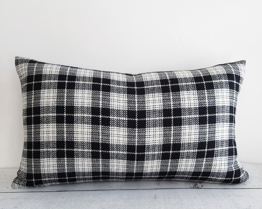 Black Plaid Throw Pillows : Black White Plaid Pillows Plaid Throw Pillows Tartan Cushion
