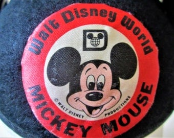 Walt Disney World Mickey Mouse Vintage circa 1970s Classic Collectible 3D Felt Skull Hat Beanie Black Ears DANNY Monogrammed