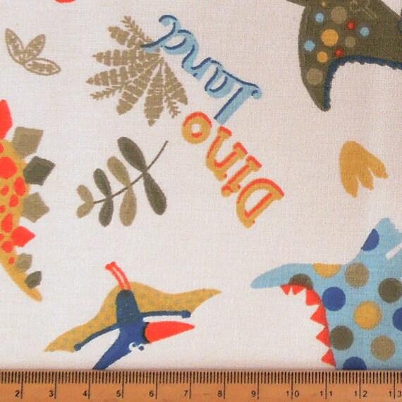 Cream dinosaur fabric kids fun dino land cotton fabric for Kids dinosaur fabric