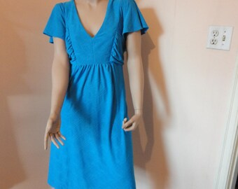 Vintage  Plus size 1980s Blue V-neck Dress Size 18