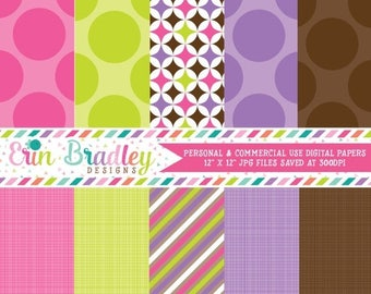 50% OFF SALE Digital Scrapbook Papers Personal and Commercial Use Pink Purple Brown Bowling Party Designs