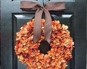 CHRISTMAS WREATH SALE Orange Hydrangea Pumpkin Wreath Hydrangea Fall Wreath, Ready to Ship, Fall Decor, Orange Pumpkin Spice Fall Wreath