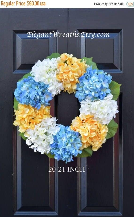 SPRING WREATH SALE Hydrangea Wreath- Spring Wreath- Spring Decor- Wedding Wreath- Ready To Ship 20 Inch