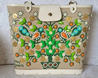 Enid Collins,Handbag, Vintage, Bright, Beautiful and Vibrant Handbag, It Grows On Trees
