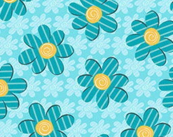 Children's Fabric, Out Of Print Kozy Kitties Blue Multi Flowers Cotton Fabric by Quilting Treasures