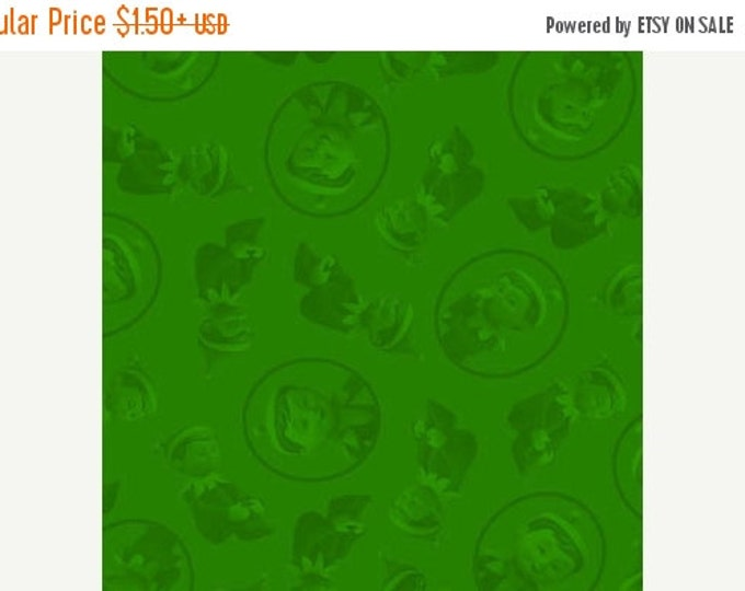 On Sale Christmas Holiday Fabric Elf On The Shelf Character Head Tonal Green