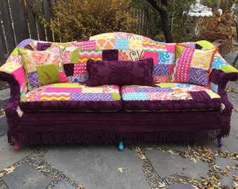 Sofa and custom patchwork slipcover