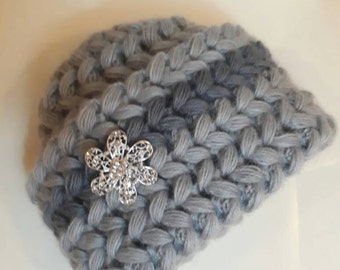 Luxury mohair grey crochet hat 2016 design, very soft Cold Weather Crochet Woman, brooch, Chunky
