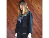 extra 30% off sale . . . Black Embroidered Native American Crop Top - Vintage 90s - XXL