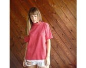 extra 30% off sale . . . Red Striped Mock Neck Knit s/s Tee - Vintage 90s - L