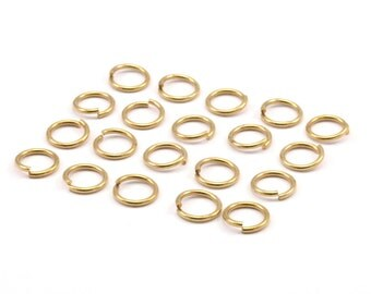 8mm Jump Ring - 100 Raw Brass Jump Rings (8x1mm) A0369
