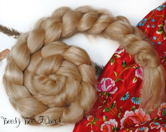 CAMEL SILK BLEND - Luxury Natural Golden Baby Camel and Silk Top for Spinning wool fiber Felting 2 oz